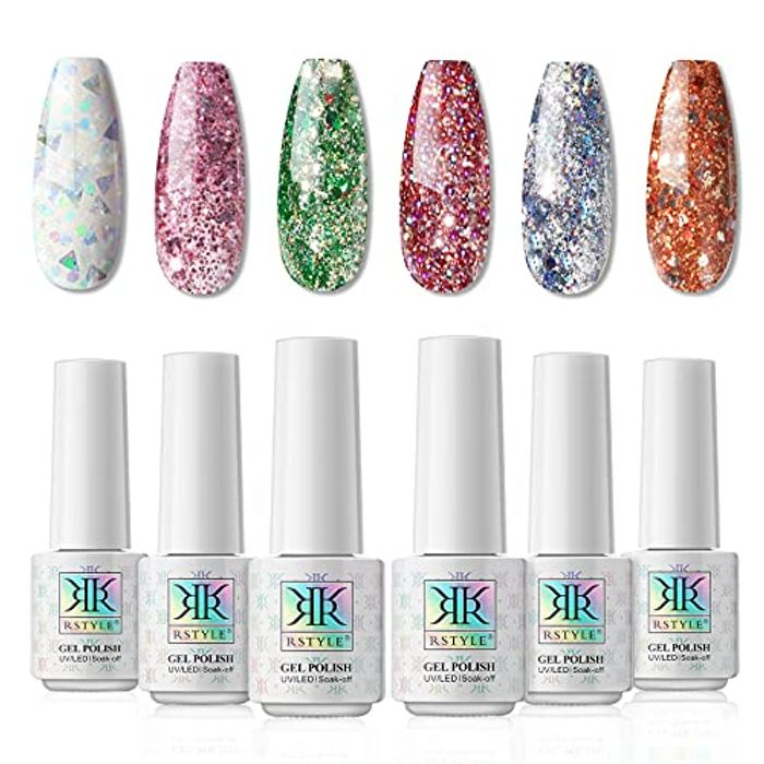 RSTYLE 6pcs Sequins Gel Nail Polish Set (Other Colours Available)