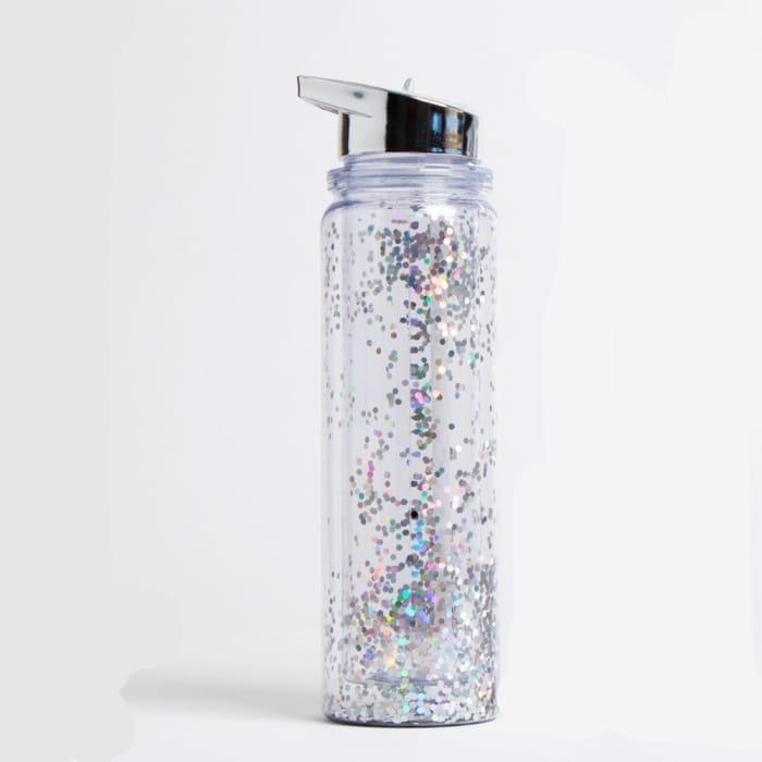 2 X 500ml Glitter Water Bottles - Silver