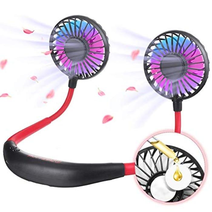 USB Rechargeable Hands-Free Fan, 7 Color LED Light, 3 Speeds Modes 40% voucher