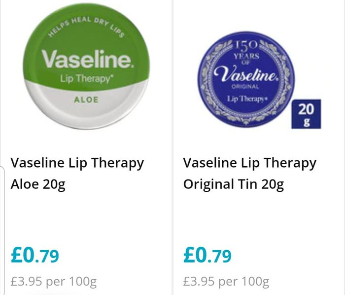 79p on Vaseline Lip therapy,Original,Rosy,20G