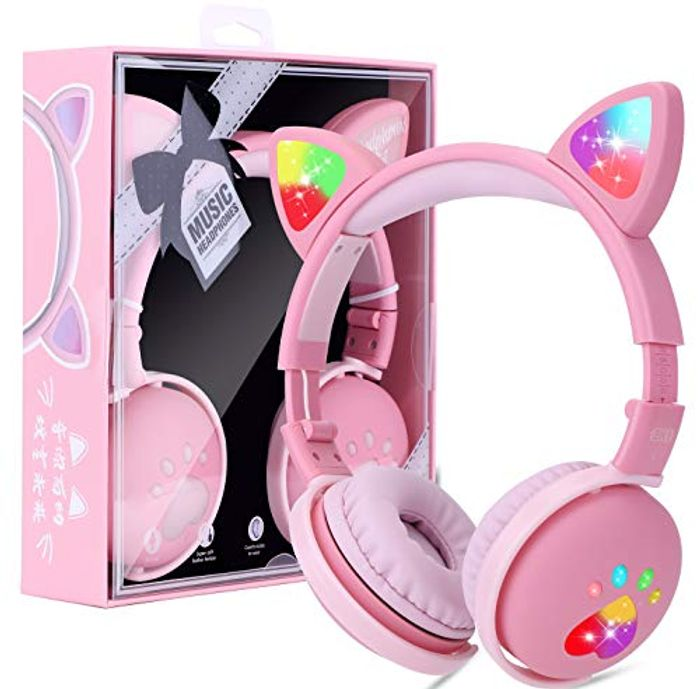Kids Wireless Foldable LED Light up Headphones with Microphone - Only £14.84!