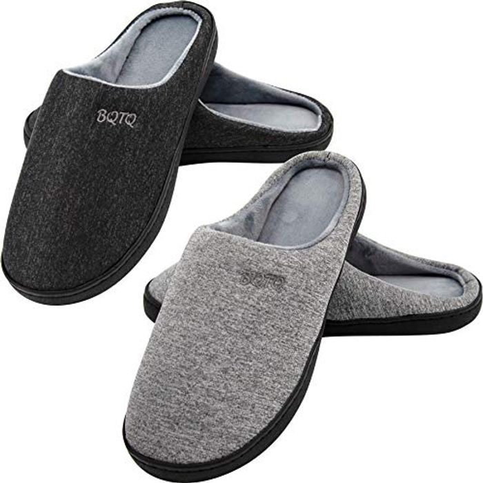 BQTQ 2 Pairs Men's Memory Foam Two-Tone Slippers (Size 12/13)