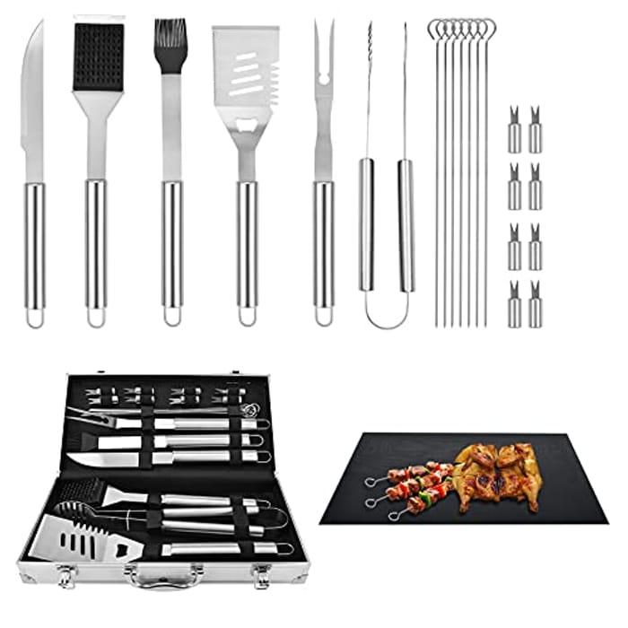 22pcs Stainless Steel BBQ Tool Set + BBQ Grill Mats