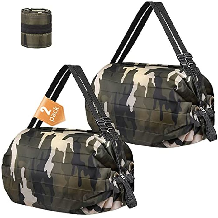 Heavy Duty Foldable Shopping Bags (2 Pack)