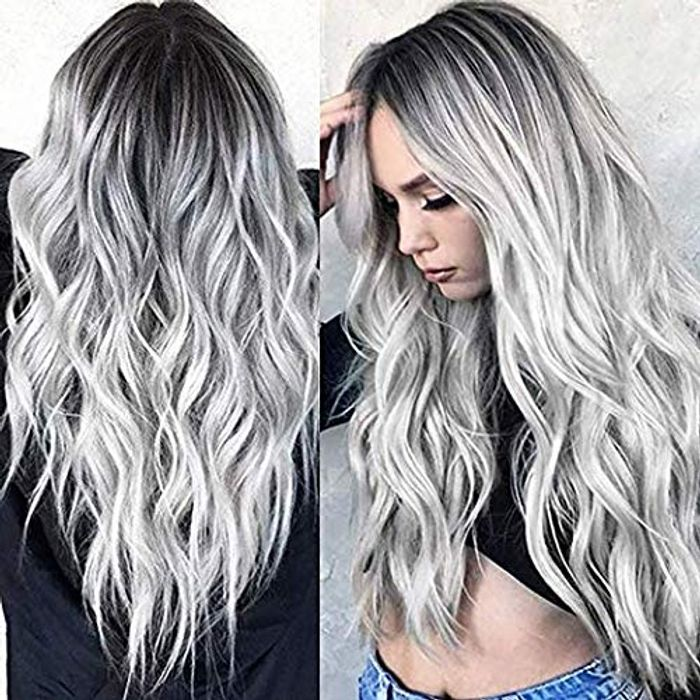 TGYHCJBY Silver Grey Gradient Wigs for Women with £10 off Coupon