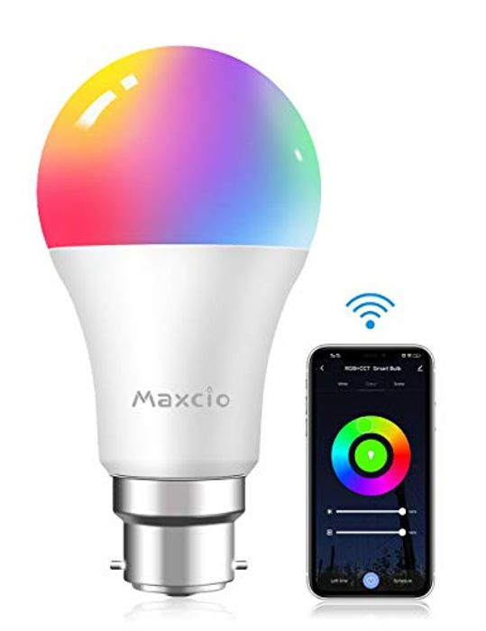 Smart RGBCW Light Bulb,Maxcio B22 Bayonet WiFi Light - Only £4.99!