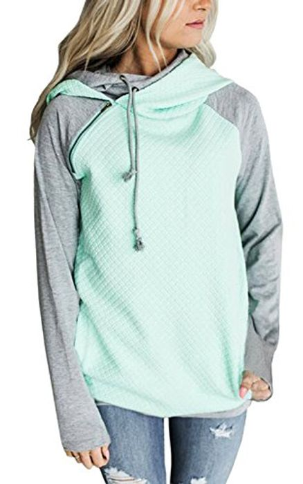 Womens Hoodies Long Sleeve Jumper Colorblock High Neck - 80% Promotion