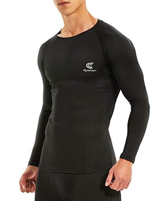 Men's Compression Top, Base Layer Long Sleeve Shirt, Workout T-Shirt Med / Large