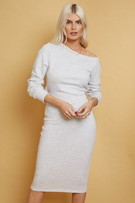 Alec Grey Slash-Neck Midi Sweatshirt Dress