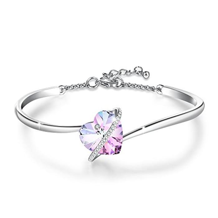 LIGHTNING DEAL - GEORGE SMITH Womens Love Heart Crystal Silver Bracelet