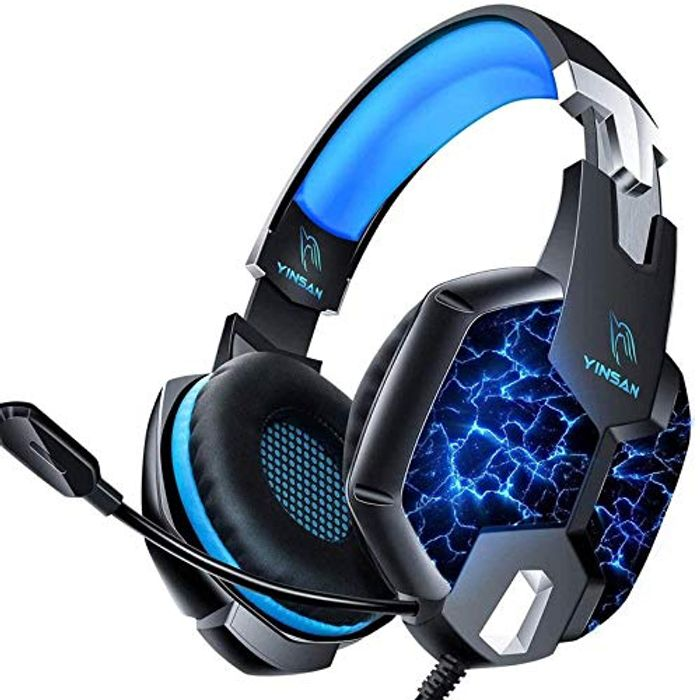 YINSAN PS4 Headset LED Lights PC Gaming Wired over Ear Headset - Only £9.99!