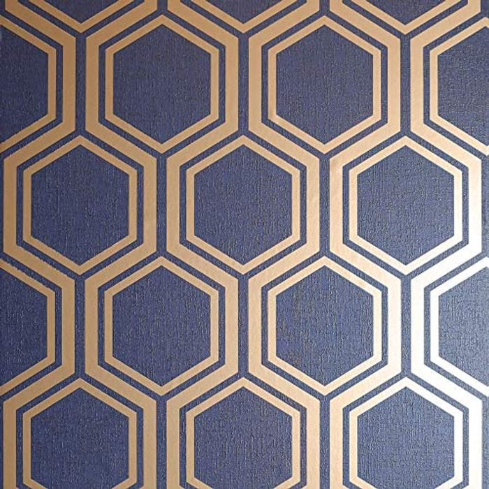 Navy Gold Metallic Textures Luxe Hexagon Wallpaper - Only £8.31!