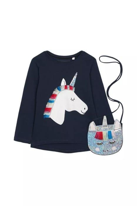 Blue ZooGirls Unicorn Tee & Bag