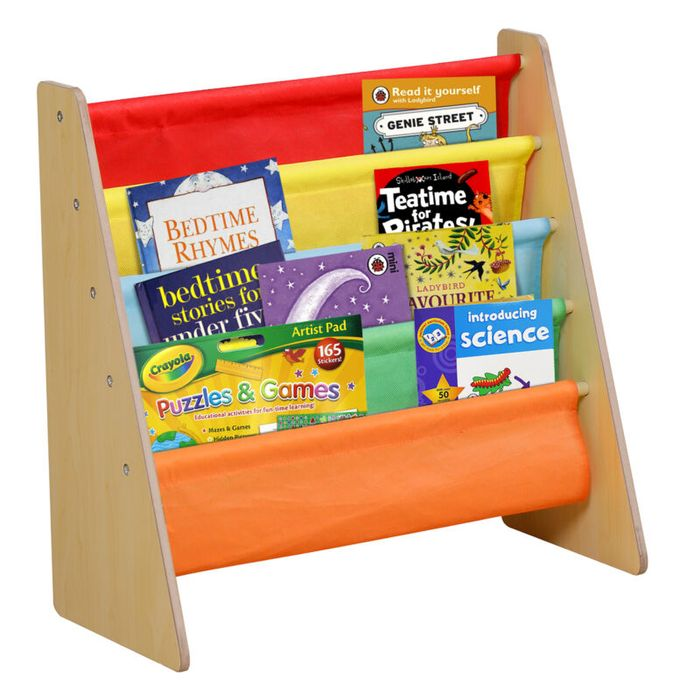 Multi Coloured Kids Wooden 4 Tier Bookshelf