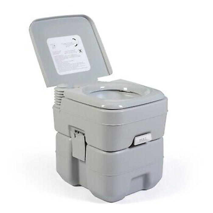 BIRCHTREE 20L Portable Toilet Flush Caravan Camping Travel WC Loo Porta Potty