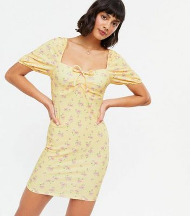 Yellow Floral Notch Tie Front Puff Sleeve Mini Dress