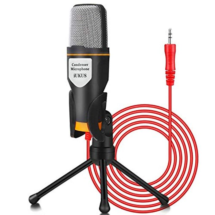 LIGHTNING DEAL - IUKUS PC Microphone with Mic Stand, Professional 3.5mm Jack