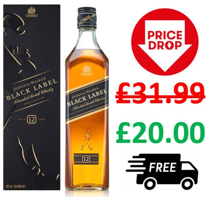 Cheap Johnnie Walker Black Label Whisky, 70cl + FREE DELIVERY - Save £11.99!