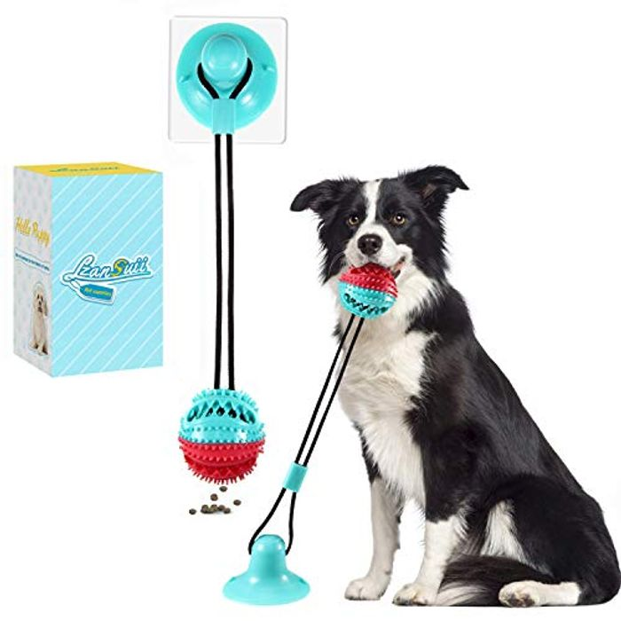 Lzansuii Food Dispensing Dog Chew Toy with Fixed Suction Cup - Only £3.99!