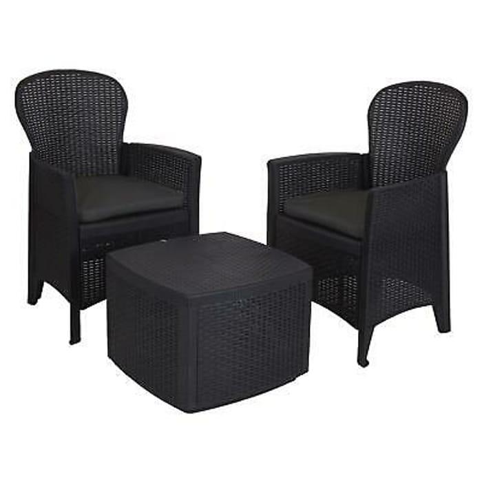 3 Piece Outdoor Bistro Patio Garden Table 2 Chair Rattan Style Furniture Set