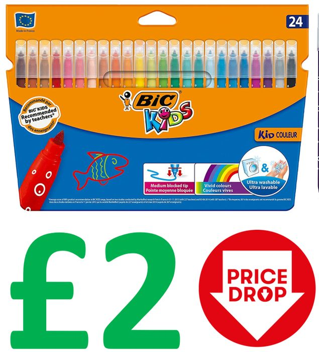 CHEAP! SAVE £3.49 - BIC Kids Felt Tips - Ultra Washable - Pack of 24