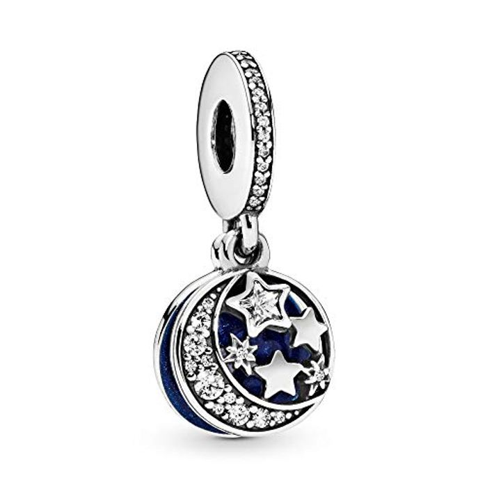 Pandora Moments Women's Sterling Silver Moon and Night Sky Charm