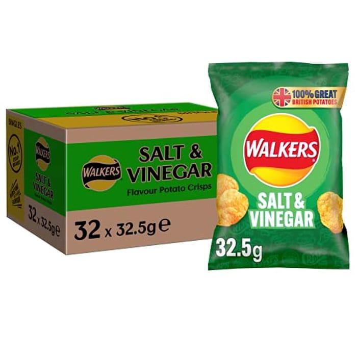 Walkers Salt and Vinegar Crisps . Box of 32 X 32.5 Gm Bags , £7.80 at Amazon