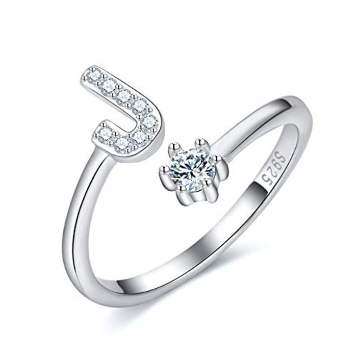 DEAL STACK - CRYSLOVE Adjustable Initial Alphabet Letter Ring + 6% Coupon