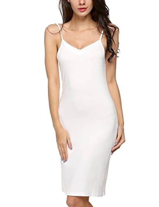 DEAL STACK - Women Cotton Blend Full Slips Bottoming Straight Dress + 10% Coupon
