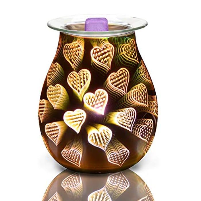 LemonBest Electric Wax Burner, Aroma Lamp Heart-Shaped Effect Wax Melt Burner