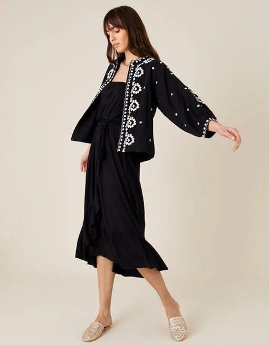 Plain Midi Bandeau Dress Black