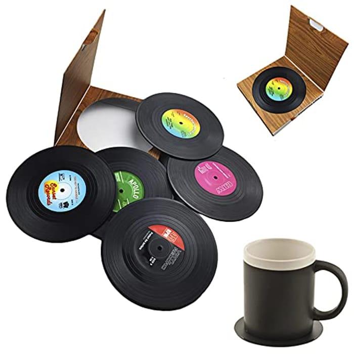 Dooppa 6PCS Coasters Retro Vinyl CD Record Coaster