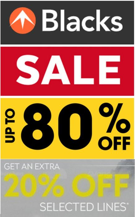 BLACKS SALE up to 80% off Outdoor Clothing, Tents & Camping | PLUS EXTRA 20% OFF