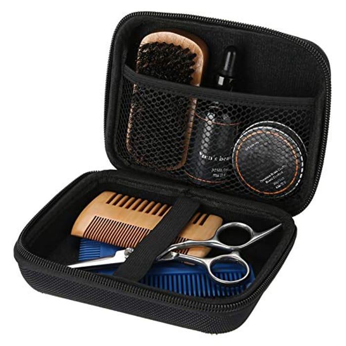 7pcs/Set Beard Grooming Kit Beard Brush Comb Set for Men