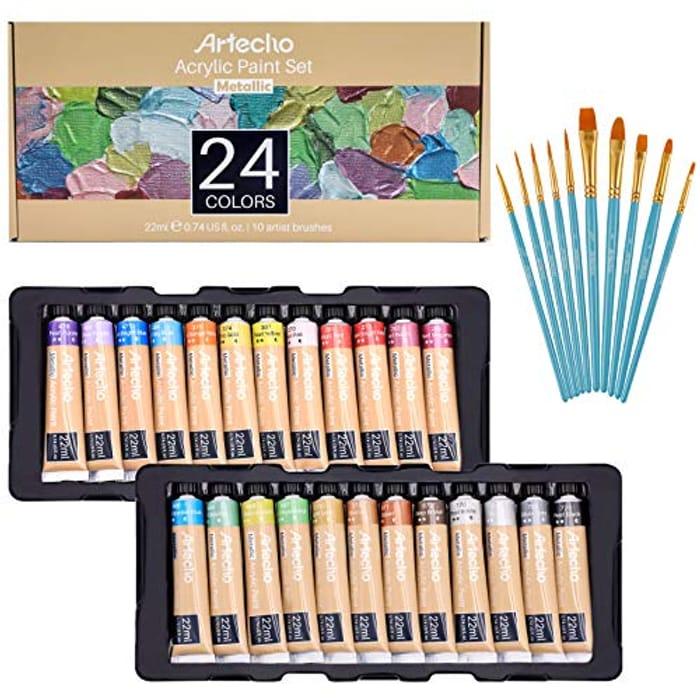 Artecho 24pcs Acrylic Paint Set + 10pcs Paint Brushes