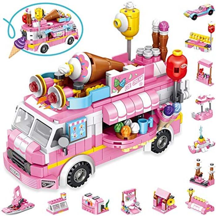 LUKAT 553pcs STEM Ice Cream Truck Building Block Toys