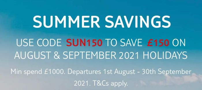 Save £150 on Holidays Departing This August and September.