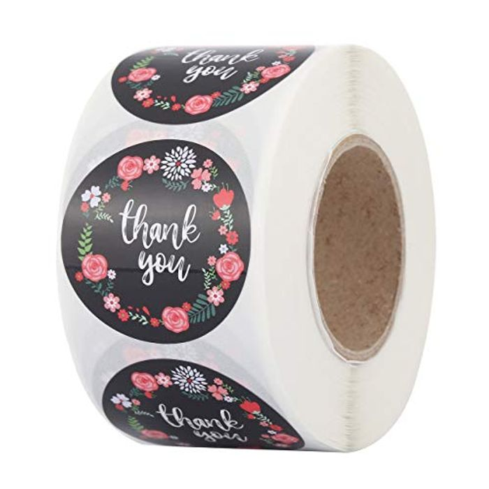 Mangsen 500 Floral 'Thank You' Stickers