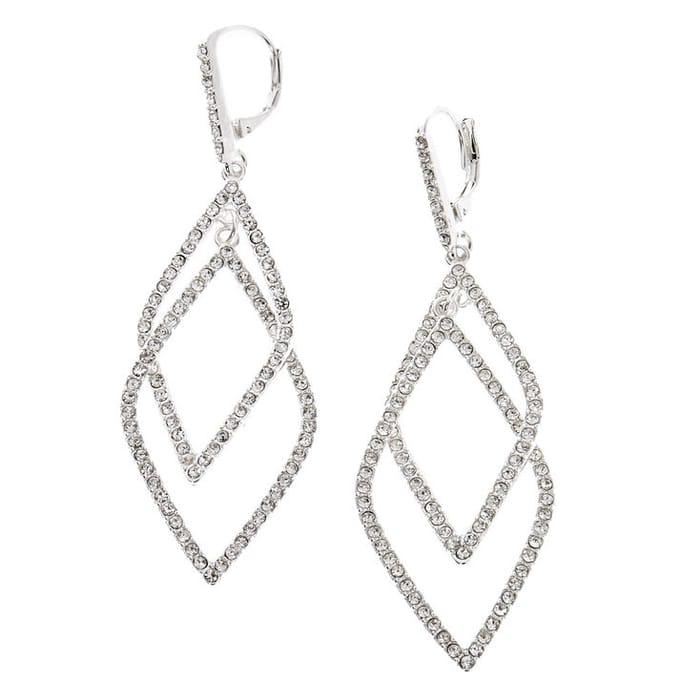 """Silver Rhinestone 2"""" Double Diamond Drop Earrings"""