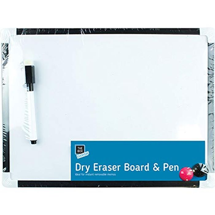 A4 Dry Wipe Magnetic Notice Board with Marker, Eraser & 2 X Magnets