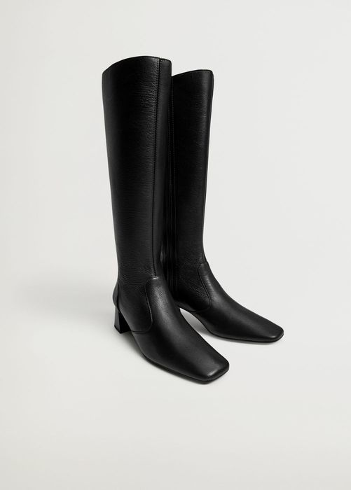 MANGO Leather Boots with Tall Leg