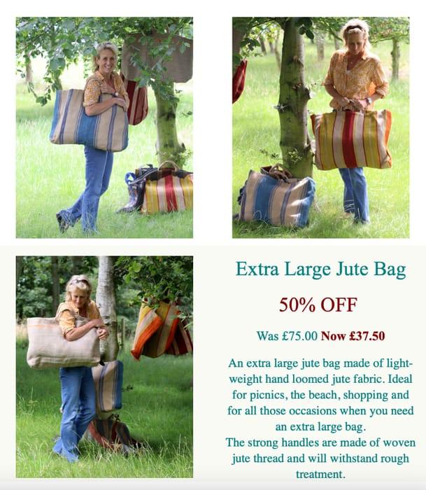 EXTRA LARGE JUTE BAG - DENIM BLUE STRIPE save 50%