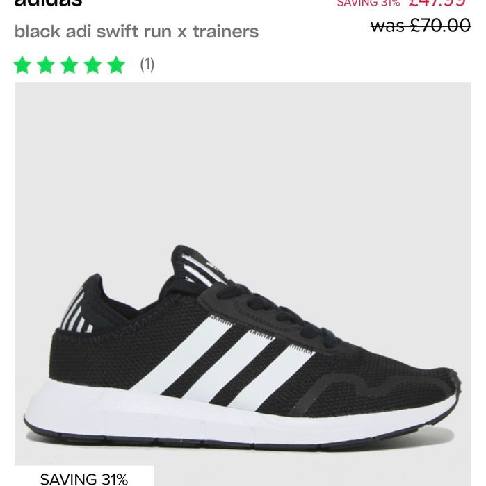 Black Adi Swift Run X Trainers