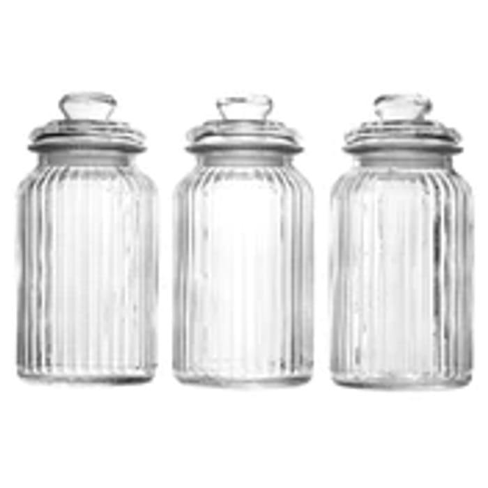 Set of 3 Vintage Airtight Glass Jars