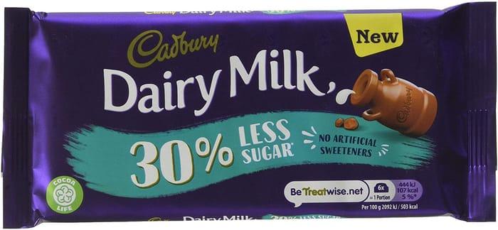 Best Price! Cadbury Diary Milk 30% Less Sugar Chocolate Bar