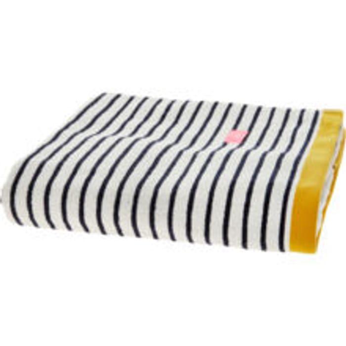 JOULES Navy & White Striped Bath Sheet 144x89cm