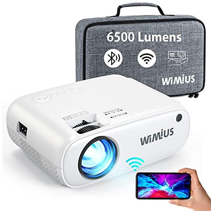 Lightning Deal! WiMiUS WiFi Bluetooth Projector 6500 Lumen
