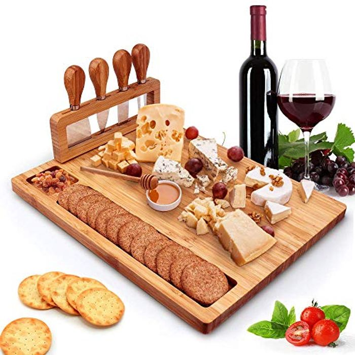 Bamboo Cheese Board with Spatula, Plane cutter, Cheese Fork, Etc