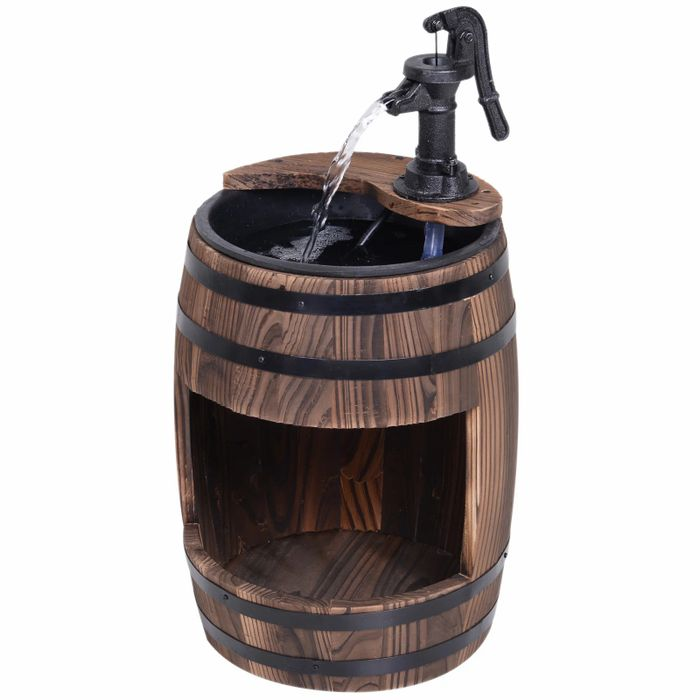 Outsunny Fir Wood Barrel Pump Fountain W/ Flower Planter, CODE PAYDAY