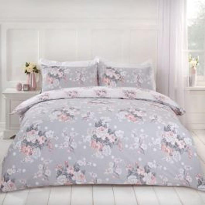Dreamscene Single English Rose Duvet Set - Grey